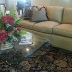 Stylish Sofa with Nailhead Trim and Glass Table