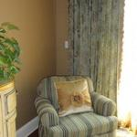 Custom Pillow Accent and Coordinating Club Chair and Window Treatment