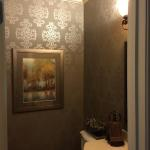 Powder Room with Beautiful Thibaut Grasscloth Wallpaper